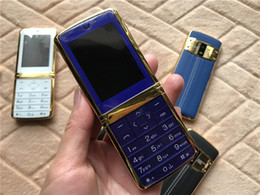 Discount back bar cooler Luxury Leather Back Cell Phone Dual SIM Card MP3 Camera bluetooth Cool metal body Unlocked Cellphone Metal Mini Signature 8800 Mobile Phone