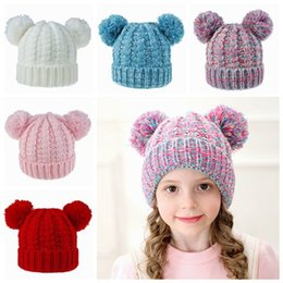 baby kids earflap hat Australia - 2019 kids winter hats caps children knitted hats double pom poms hat handmade wool crochet beanies hats baby bonnets girls boys earflap hat