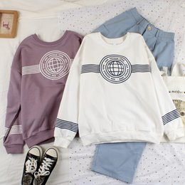 japanese clothes sweatshirt Canada - Japanese girls new spring clothes college style casual wind sweatshirt simple letters loose round neck cotton jumper girl Tops