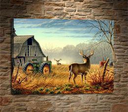 $enCountryForm.capitalKeyWord Australia - Deer Birds Competition, Barn Bucks Farm Fence1,1 Pieces Home Decor HD Printed Modern Art Painting on Canvas (Unframed Framed)