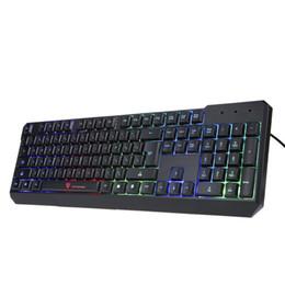 Tastiera professionale da gioco Tastiere meccaniche cablate USB con retroilluminazione a LED retroilluminata 104 tasti per PC Desktop portatile in Offerta