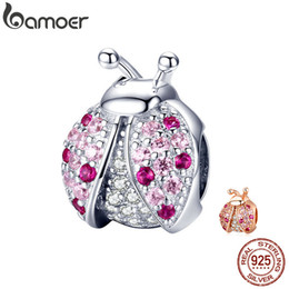 $enCountryForm.capitalKeyWord Australia - Bamoer New Arrival 925 Sterling Silver Ladybug Pink Cubic Zircon Insect Charms Beads Fit For Bracelets Diy Jewelry Scc1120 MX190726