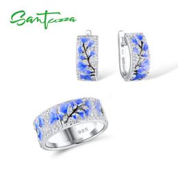 925 Sterling Jewelry Sets Australia - Santuzza For Woman Blue Flower Ring Earrings 925 Sterling Silver Party Fashion Jewelry Set Handmade Enamel J 190514