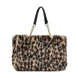 Chain Designs Handbags Australia - good quality Vintage Women Shoulder Bag Winter Faux Fur Design Handbag Female Large Capacity Lady Leopard Casual Tote Bagwith Chain