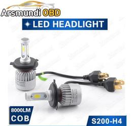 Car Lamp H13 White Australia - S200-COB H4 H13 9004 9007 H7 H1 9005 9006 COB LED Headlight 40W 6000LM Car LED Headlight Pure White Bulb Head Lamp Fog Light