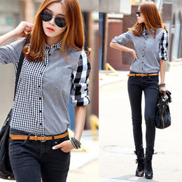 Wholesale womens black collar shirt online – NEW Fashion Womens Ladies Long Sleeve Button T Shirt Tops Business Lattice Shirt