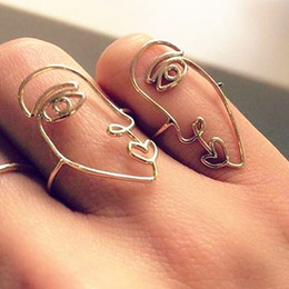 Discount unique finger rings for women - Vintage Gold Silver Finger Ring for Women Girl Simple Band Unique Abstract Face Ring Set Hollow Rings Accessories Jewelr