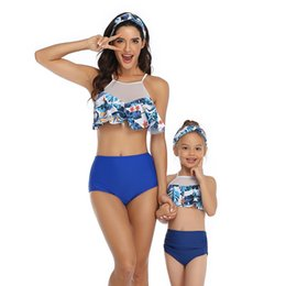 3t bathing suits Canada - High Waist Parent-child Swimwear Women Flounce Mother Daughter Swimsuit Girl Family Matching Clothes Swimming Bathing Suit