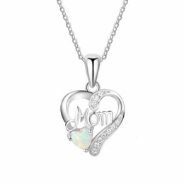 gift for mother christmas UK - Fashion Opal mother crystal Heart pendant necklace for Woman Luxury Mother's Day gifts