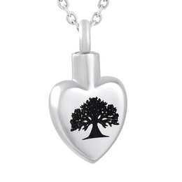 Chinese  ZZL142 Heart Urn Necklace for Human ashes Keepsake, Tree of Life Pattern Laser Men Women Cremation Pendant Casket Locket manufacturers