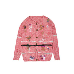 New 2019 Women Spring Sweater Sweater Super Heavy Duty Sequins Embroidered  Cardigan Pink Sweaters Tops ecaf327da