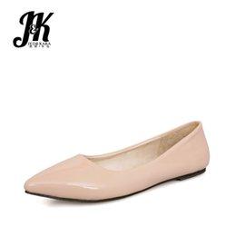 e83e48f26e9 JK 2019 Spring Fashion Casual Women Flats Square Toe Footwear Patent  Leather Ladies Shoes Ballet Flat Shoes Woman Big Size 49