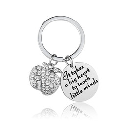 stainless steel keyrings wholesale NZ - 12PC Wholesale It Takes A Big Heart Teach Little Minds Clear Crystal Apple Keyring Stainless Steel Keychain Teacher's Day Gifts