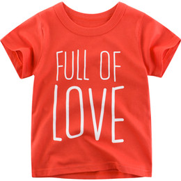 fd9a54ad5f8 Korean new Full of love letter print child t shirts o neck short sleeve  boys girl tops 3 4 5 6 7 8 year cotton summer clothing