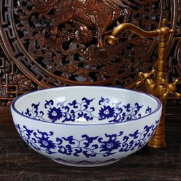 vessel sink bowls NZ - Blue and white China Handmade Ceramic Art Basin Sinks Counter Top Wash Basin Bathroom Vessel Sinks single bowl wash basin
