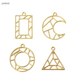 pendant frames for jewelry 2019 - 4Pc Geometric Shape Open Bezel Charm Pressed Flower Blank Frame Hollow Pendant For DIY Jewelry Making cheap pendant fram