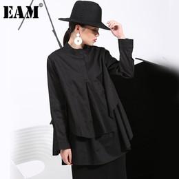 $enCountryForm.capitalKeyWord Australia - [eam] Spring Plus Long Shirts Women Blouses Long-sleeve Loose Tops Black White Cotton Shirt Big Size C006111 Q190509