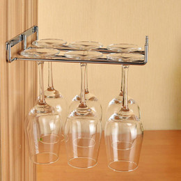 Wine Cups Holder Australia - Hanging Metal Wine Cup Rack Silver Gold Bar Single Double Rack Wine Stemware Glass Bottle Goblet Inverted Holder