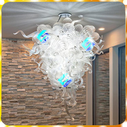 light hung NZ - Transparent Crystal Transparent Modern Murano Hanging Lamp Hand Blown Murano Art Led Glass Chandelier Lighting For livingroom and bedroom