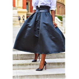 $enCountryForm.capitalKeyWord NZ - Simple A Line Zipper Style High Waist Puffy Ankle Length Taffeta Black Skirt Without Sash Women To Formal Party Fashion Skirts