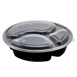 $enCountryForm.capitalKeyWord NZ - 3 Compartment Plastic Food Containers with Lids Disposable Round Take Out Box Microwavable Lunch Box