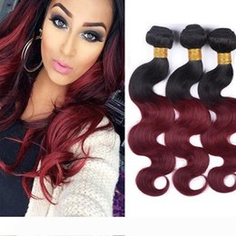 raw hair dye colors NZ - A Indian Raw Virgin Hair 1B 99j Ombre Human Hair Extensions 3 Bundles Two Tones Color Body Wave 1B 99j Burgundy
