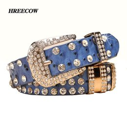 blue cow cartoon Australia - New Fashion Rhinestone belts for women Luxury Designer Genuine leather belt High quality Cow second layer skin strap female C19010301