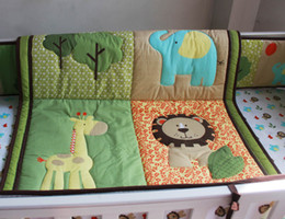 Babies Bedding Sheets Australia - Hot Selling Baby Organizer Cotton Crib bumper set 6Pcs Cot bedding set Baby Quilt Bumper Fitted Sheet Embroidery 3D lion elephant deer tree