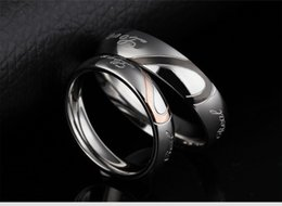 Men Size 15 Rings Australia - Wedding Ring Couple Rings Heart Shaped Jigsaw Puzzle Stainless Steel Jewelry Valentine Gift for Men Women USA Size 5-15 Cheap Wholesale