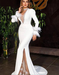 Fiber power online shopping - 2020 luxury Arabic white mermaid prom Dress sexy high split evening dress long sleeves with feather design Formal Prom Evening Gowns
