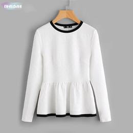 White peplum top sleeveless online shopping - Contrast Binding Textured Peplum White Women Tops Blouses Autumn Long Sleeve Elegant Fall Shirt Fashion Blouse