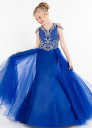 Wholesale 2019 Royal Blue Mermaid Toddler Baby Girl s Pageant Dresses with Tulle Overskirts Beaded Zipper Back Wedding Flower Girls Dresses