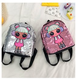 $enCountryForm.capitalKeyWord NZ - 2019 6 Colors Sequin Kids Toys Trendy Dolls Backpack Child Cartoon Storage Bags Girls Cute Backpacks Hop-Pocket Christmas Gift Bag M132F