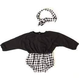 663888a8b French Clothing Wholesalers Australia - INS new baby girl kids Clothing  climbing plaid stripes romper Long