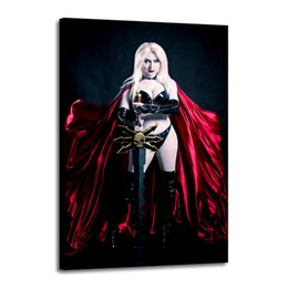 Chinese  Cartoon Art Lady Death Wearing A Red Cloak,Oil Painting Reproduction High Quality Giclee Print on Canvas Modern Home Art Decor 2575 manufacturers