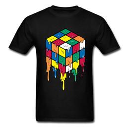 Men S Clothes Images NZ - Colored Cube Men T Shirt Custom Top Quality Rubik Cube Tshirt Pure Cotton Brands Clothing 90's Image Magic T-Shirt Hot Sale