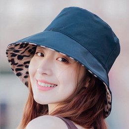 $enCountryForm.capitalKeyWord NZ - MISSKY Women Caps Summer Leopard Printing Double Sided Sunscreen Bucket Hat