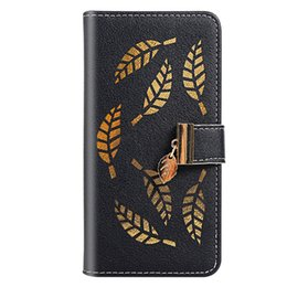 leaving cards Australia - Flip Cover Stand Wallet Case For Samsung Galaxy A10 M10 A20 A30 A40 A70 A80 A90 Card Slots Hollow Out Gold Leaves
