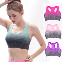 ladies gym tops Australia - Women Sports Yoga Bra Ladies Gradient Elastic Fitness Running Vest Breathable Quick Dry Gym Workout Bra Top Quality Yoga Outfits 05