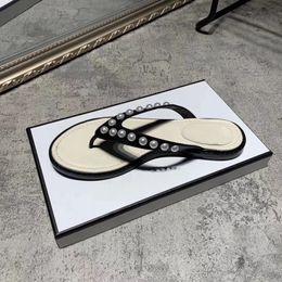 Discount jewel heels - Genuine Leather Slipper Women Flip Flop Designer Beading Flat Slipper Women Breathable Flip Flop Summer Spring Beach Sli