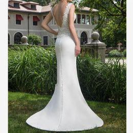 $enCountryForm.capitalKeyWord NZ - Simple White Satin Sheath Wedding Dresses Custom Deep V Neck Backless Plus Size Bridal Dress Sweep Train Side Split Lace Wedding Gowns