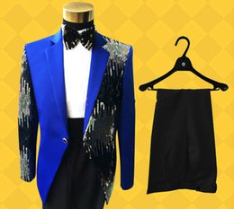Royal Performance Suits Australia - High Quality Retro gentleman Men's Suits sequins Groom Tuxedos Performance clothing Wedding Party Prom Blazer Jacket+Pants CY01