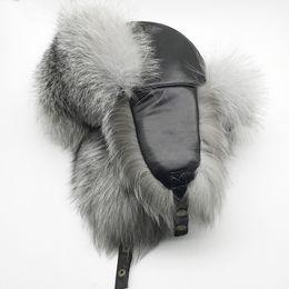 $enCountryForm.capitalKeyWord UK - 2019 New Luxury Unisex 100% Real Fox Fur Bomber Cap Russia Winter Warm Soft Fluffy Fox Fur Bomber Hat Men&women Raccoon Fur Hats