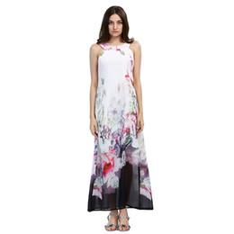 ec07643cab4 2018 Beach Boho Maxi Dresses Print Floral Plus Size Beach-to-Bar White Long  Dress Sleeveless Summer Sundress Vestidos Beachwear Tunics Robe