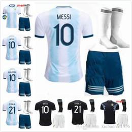 messi soccer socks 2019 - Adult kit socks 2019 2020 Argentina AGUERO Soccer Jersey Home White MESSI DYBALA DI MARIA Higuain Football Set Adult Spo