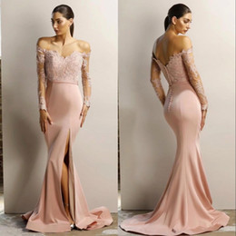 Covered button Celebrity dresses online shopping - Sparkly Dusty Pink Mermaid Prom Dresses Off the Shoulder Long Sleeves High Split Cheap Evening Pageant Celebrity Dress