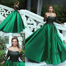 Prom Charms Australia - 2019 new Charming Green Long Sleeve Prom Dresses Off The Shoulder Satin Appliques Beaded Formal Evening Dresses ball Gown Vestido De Fiesta