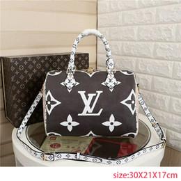 leather badminton bag 2019 - 2019SS L Letter Printing Monogram Canvas Handbags Womens 4 Colors Fashion Bags Ladys Clutch Shoulder Tote Female Purse c