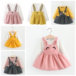 Wholesale Newborn babies girls dress long sleeve girl skirts rabbit bunny cat cute baby casual blouse shirt spring autumn boutiques clothing