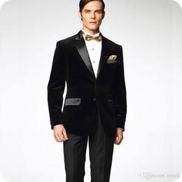 $enCountryForm.capitalKeyWord Australia - Latest Designs Black Velvet Groom Tuxedos Men Suits for Wedding Satin Peaked Lapel Smoking Jacket Wool Blend Pants 2Piece Best Man Blazer